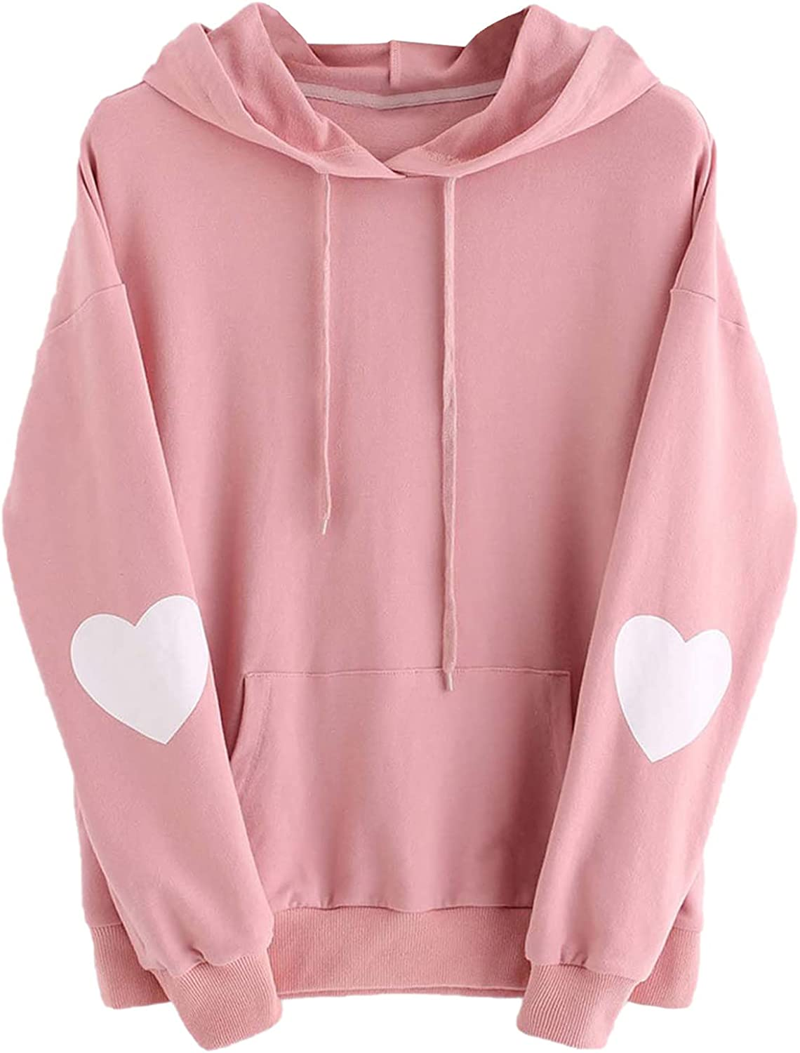 Kanzd Cute Hoodies for Girls Women Casual Long Sleeve Kawaii Love Print Fashion Drawstring Pullover Loose Fit Blouse