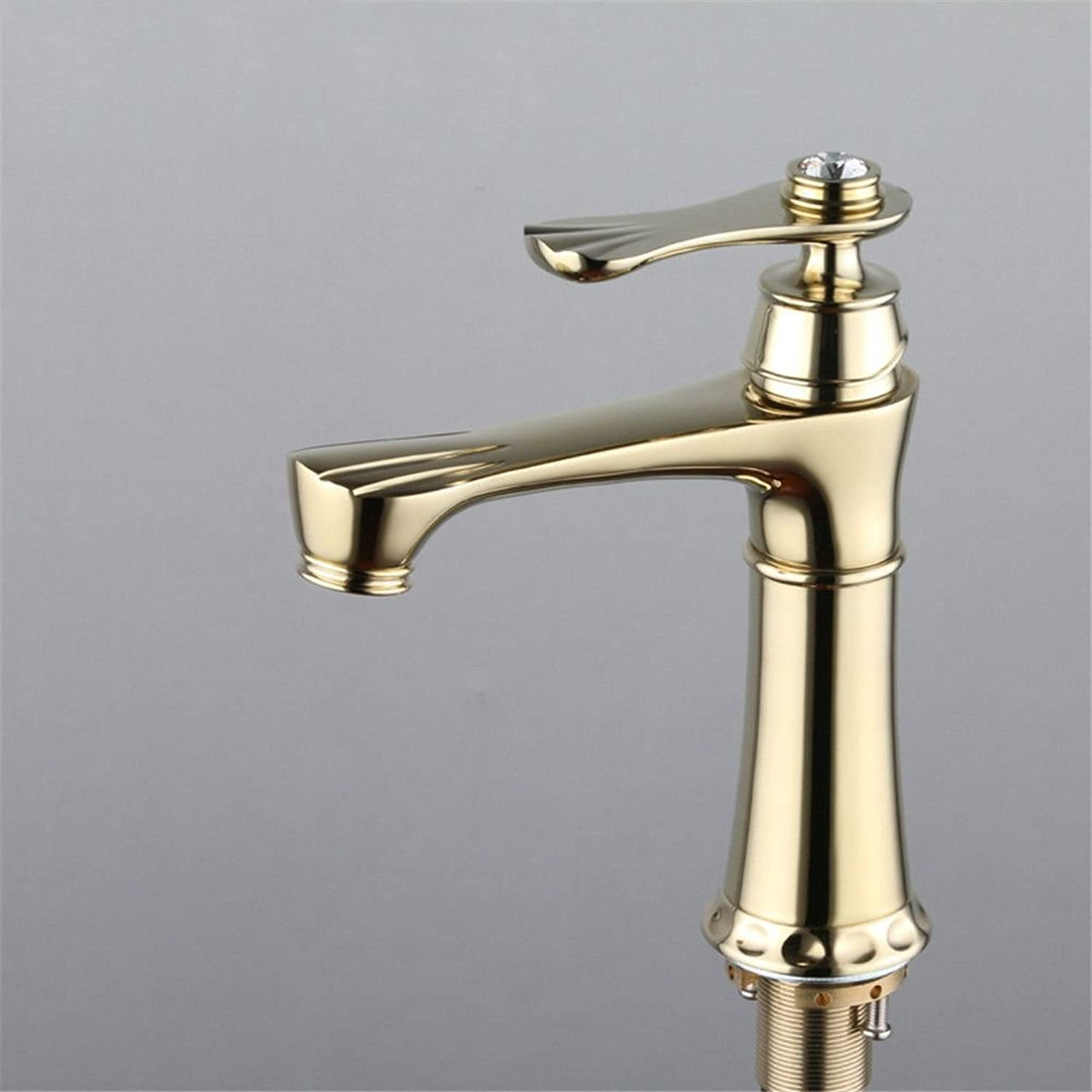 AQMMi Basin Sink Mixer Tap for Lavatory gold Brass Hot and Cold Water Single Lever Bathroom Vanity Sink Faucet