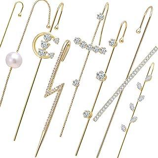 8PCS/set Fashion Gold Wrap Climber Earrings Set Huggie Unique Ear Cuffs Hoop Earrings for Women Small Cubic Zirconia Simpl...