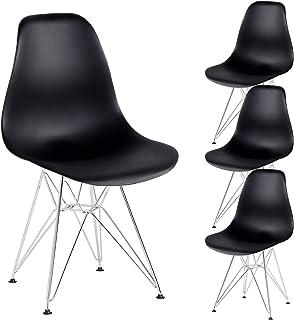 N A MUEBLES Home - Juego de 4 sillas de comedor retro de mediados de siglo de cocina con patas de metal para comedor, dormitorio, sala de estar