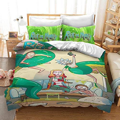 SK-LBB Large Full-size Bedding Set, 3D Cartoon Rick and Morty Duvet Cover Set, Science Fiction Animation Microfiber 2/3 Piece Set, Kids/youth Gift (03,Super King 220X260CM)