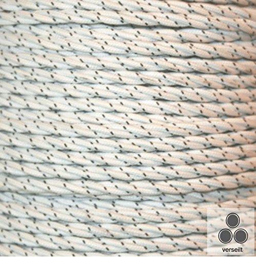 Textielkabel stoffen kabel wit met stippen, 3-aderig vertogeld