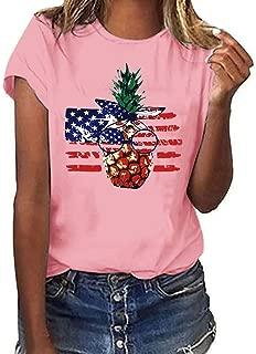 〓COOlCCI〓Summer Woman T Shirt Street Style Pineapple Printed Short Sleeve T-Shirt Casual Loose Lady Tops Juniors Tees