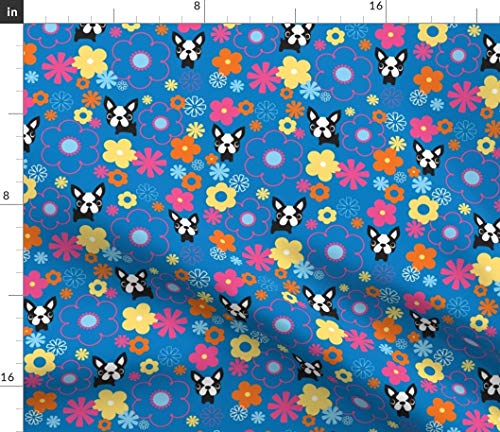 Spoonflower Fabric - Mod Terriers Blue Floral Kawaii Terrier French Bulldog Bright Cute Printed on Petal Signature Cotton Fabric by The Yard - Sewing Quilting Apparel Crafts Decor