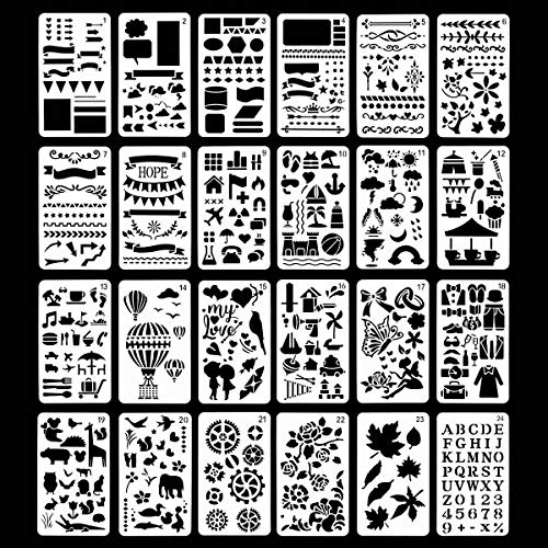 24 Pieces Journal Stencils Plastic Planner Set for Diary Scrapbook DIY Painting Drawing Craft Journal Notebook Bullet Planner Stencil Template Patterns Shapes Letters Journaling Stencils (4X7 Inch)