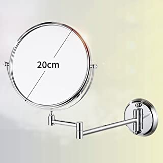 NYDZDM Wall-Mounted Double-Sided Make-up Mirror Bathroom Folding Telescopic Beauty Mirror 3 Times Magnifying Glass Stainless Steel 360 ° Rotation (Size : 8 inch)