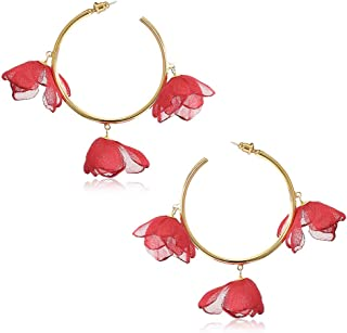 925 Sterling Silver 10mm Red Rose Flower Stud Earrings 22320
