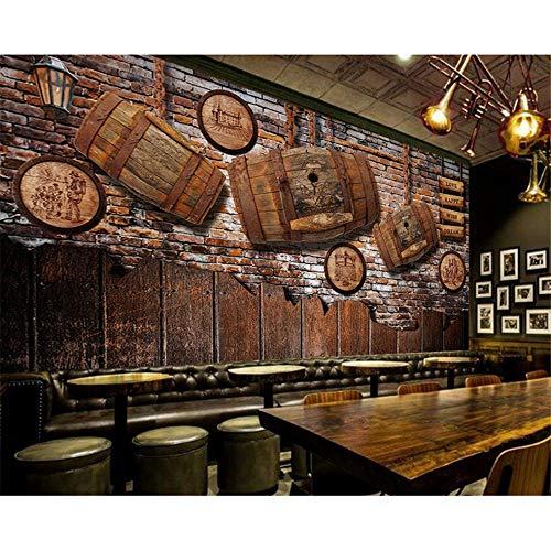 Rureng Weinkeller Fototapete Retro Vintage Wein Holz Bar Ktv Dekoratives Wandbild Hotel Restaurant Wein Shop Wallpaper-250X175Cm