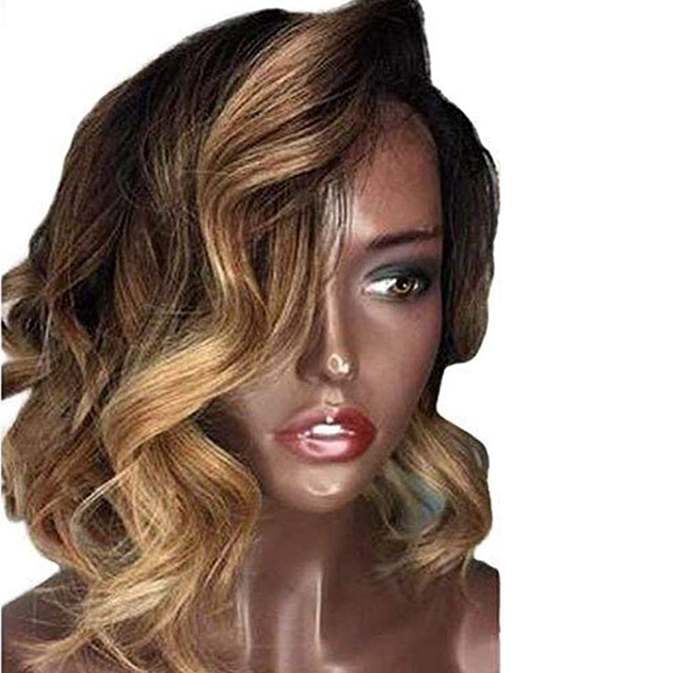 Style Flawless Wob Hair (Wavy Bob) Dirty Black Hair Rooted Lace Front Wigs for Women (a)