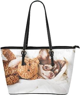 45de8e9883 Mignon Chihuahua Chien Animal Grand En Cuir Portable Poignée Supérieure Main  Fourre tout Sacs Causal Sacs