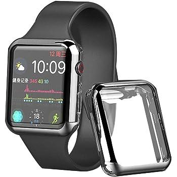 ddice Apple Watch 42mm ケース アップルウォッチ 本体 カバー 全面保護 Series 6 SE 5 4 3 2 アップルウォッチ シリーズ4 薄い アップルウォッチ カバー クリア 透明 耐衝撃 (42mm, シルバー)