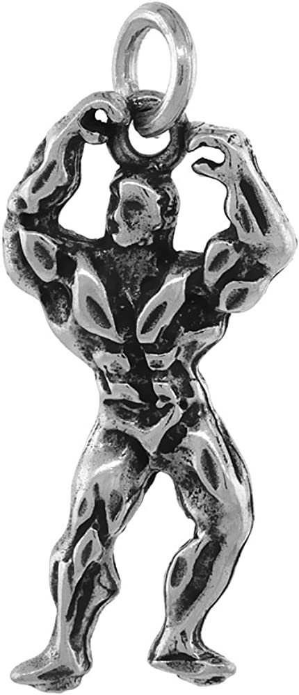 Sterling Silver Body Builder Necklace List price Antiqued Fashion 1 3 inc Finish 16