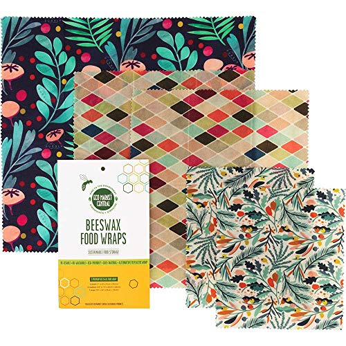 Ecomarket Beeswax Food Wrap - Reusable Bees Wax Paper Wrap Food Storage - Reusable Sandwich bags & Food wrappers - Eco Friendly Organic Cotton Beeswax cloths Plastic Free Sustainable Pack of 5