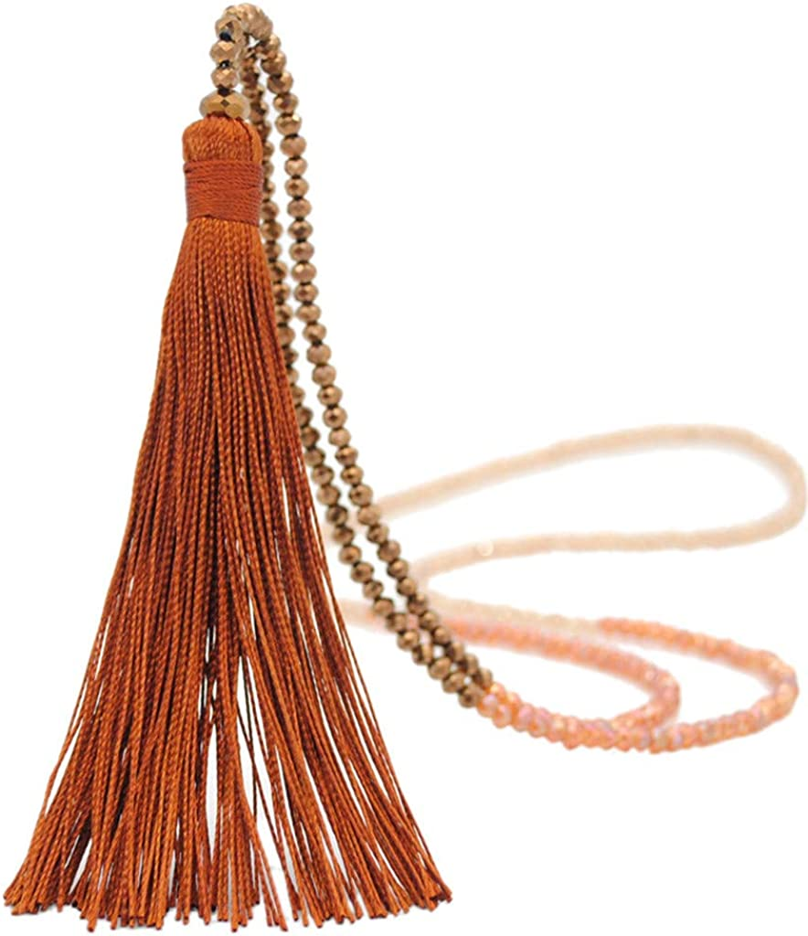 Vintage Long Tassel Drop Sweater Chain Boho Glass Crystal Bead Necklace Women Sweater Necklace