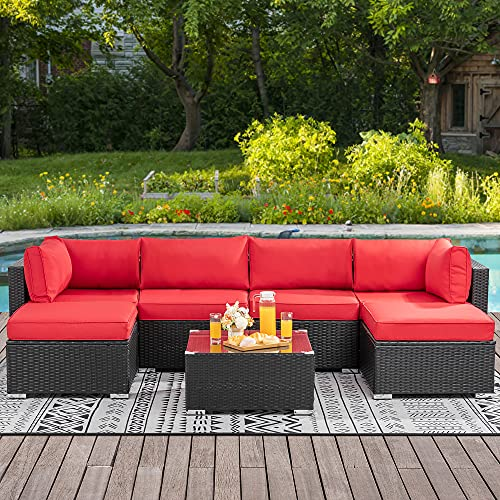Walsunny 7 Pieces Patio Outdoor Furniture Sets,Low Back All-Weather Black Rattan Sectional Sofa with Tea Table&Washable Couch Cushions &Ottoman, Red