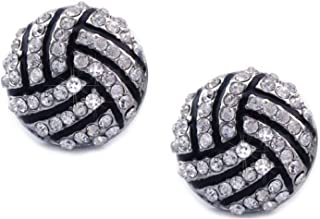 Volleyball Earrings Studs - Crystal Rhinestone Post Silver Bling