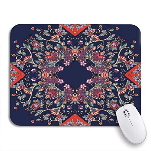 Adowyee alfombrilla de ratón para juegos, pañuelo floral ruso, manteles y servilletas, patrón de accesorios, respaldo de goma antideslizante, alfombrilla de ratón para ordenador para portátiles, alfom