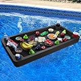 Polar Whale Extra Large Floating Buffet Table Serving Tray Drink Holder Swimming Pool Beach Party Float Breakfast Bar Lounge Refreshment Durable Black Foam UV Resistant with Cup Holders 4 Feet Wide