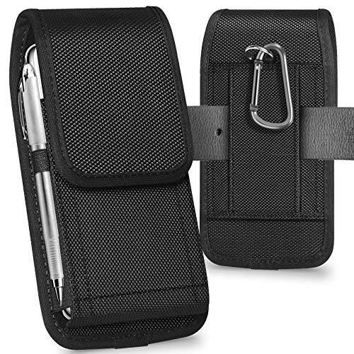 ykooe Funda Teléfono de Nylon con Clip para Cinturón para iPhone 11/Pro/MAX/XR X 8 7 6 Plus/Huawei/Samsung/Xiaomi (Negro)