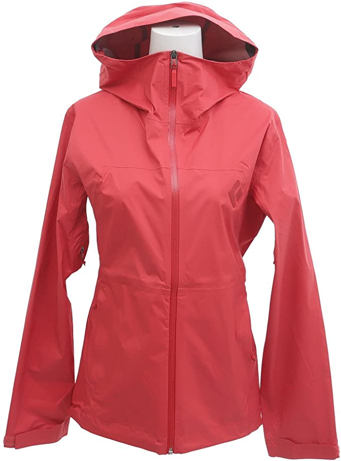 This is an image of a rain jacket for women in bright pink color, with hood and a heavy-duty zipper as closure.