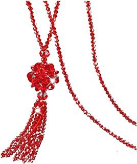 Crystal Bead Long Necklace Women Sweater Chain Fashion Tassel Pendant Necklaces Mother's Day Gift Jewelry,Red