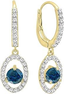 14K 4.5 MM Each Round Gemstone & White Diamond Ladies Dangling Drop Earrings, Yellow Gold