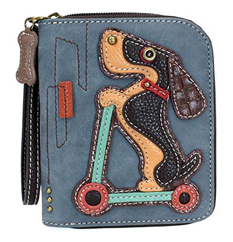 Dachsund on a Scooter Zip Around Wallet, Wristlet, 8 Credit Card Slots in Indigo Blue