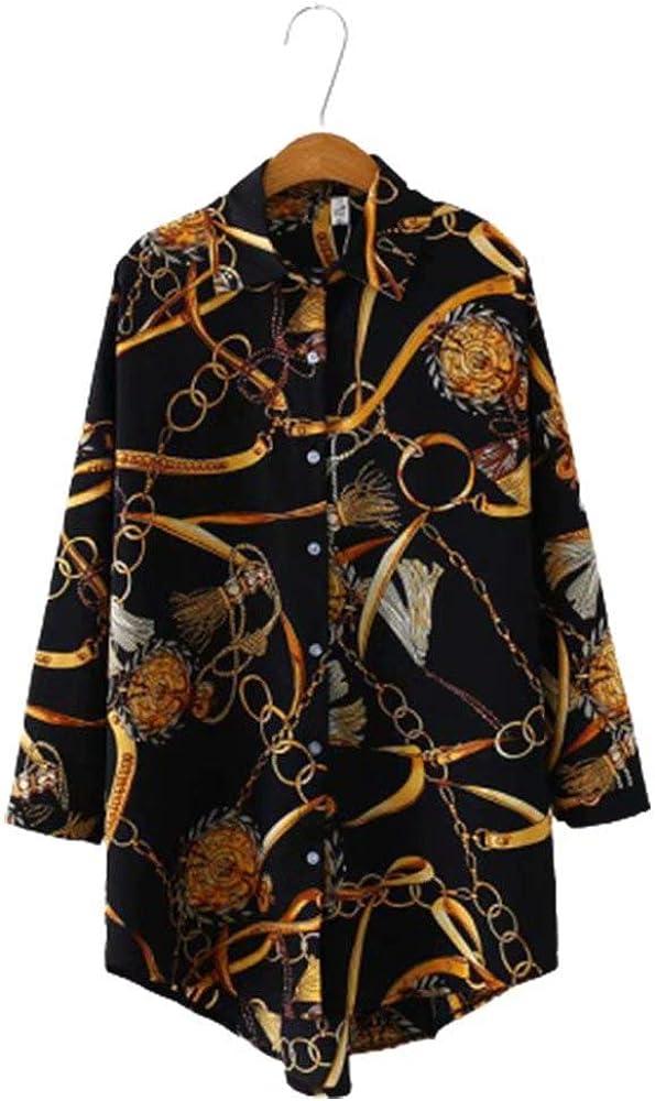 JIURI Women's Button Down V Neck Classy Chain Print Curved Hem Long Sleeve Plus Size Long Blouse Tops Shirt Dress