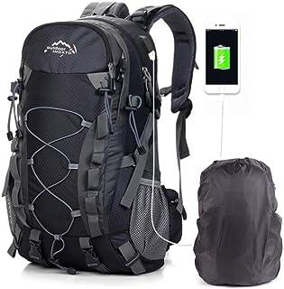 Mochilas De Marcha, Mochila De Senderismo Trekking Mujer Hombre Resistente Al Agua 40L litros Al Aire Libre Ligera Gran Capacidad para Viajes Montañismo Escalada USB Backpack