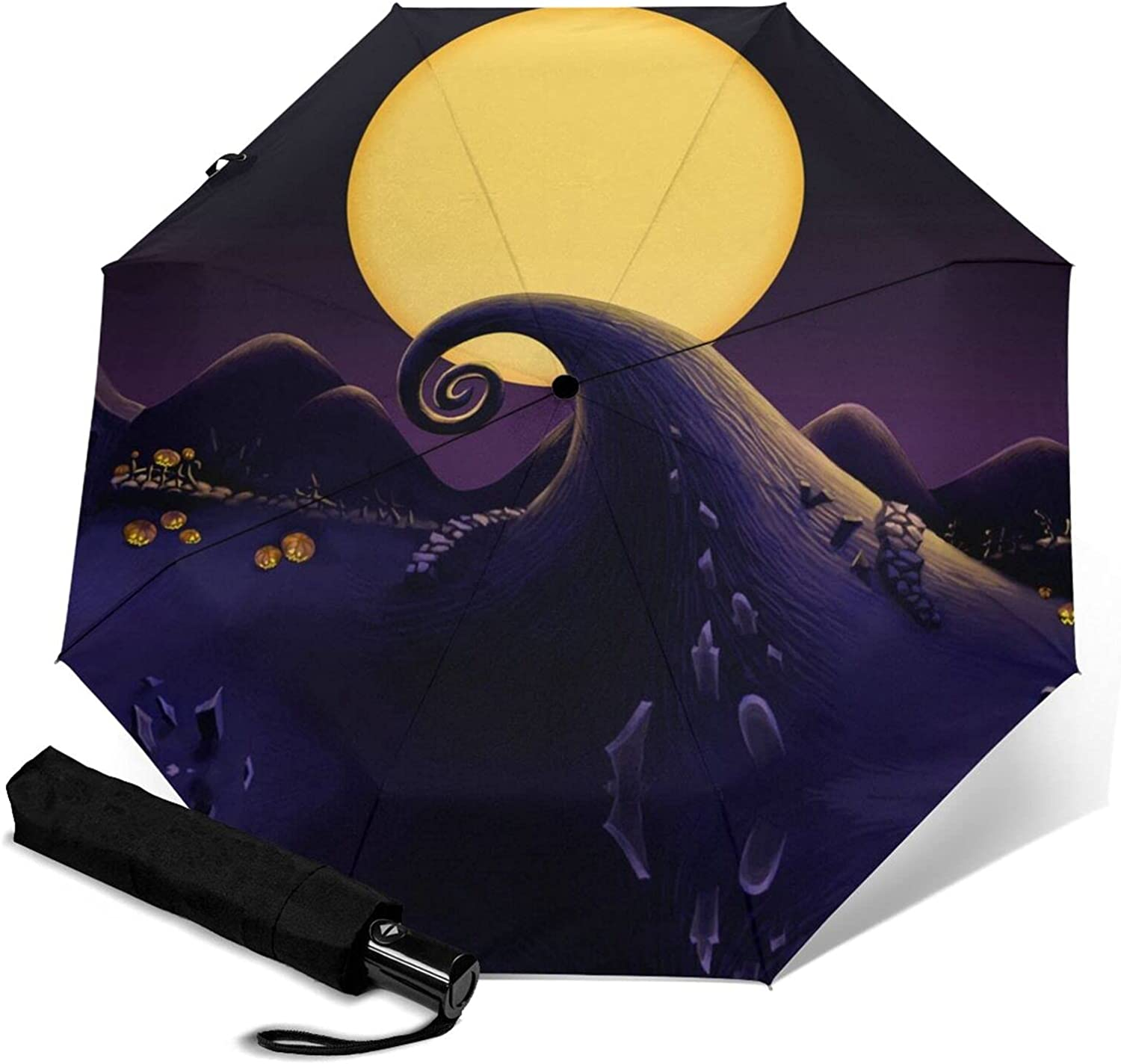 Halloween Limited time trial price Moon Night Graveyard Gifts Umb Automatic Print Three-Folding