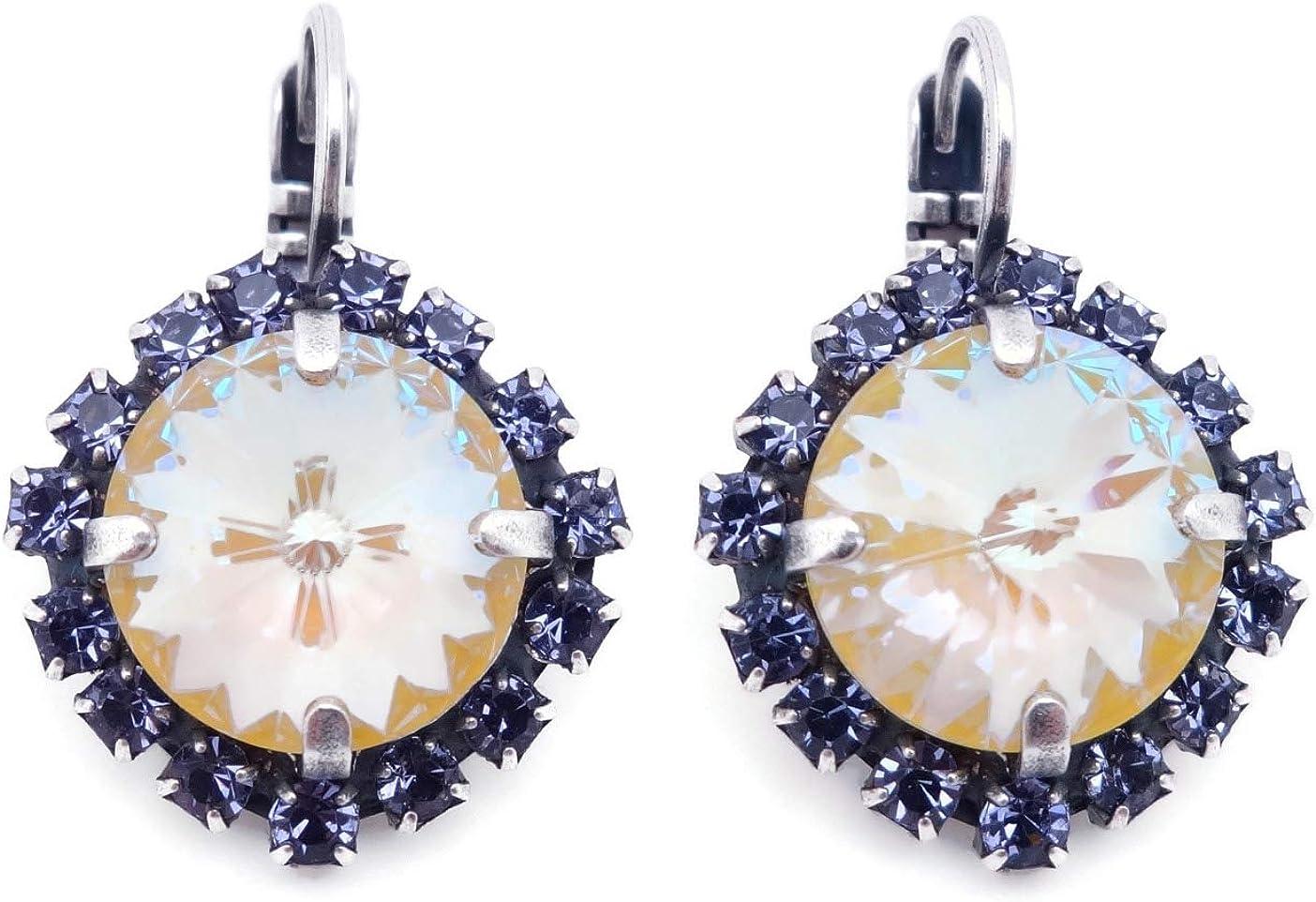 Daily bargain sale Mariana Silvertone Earrings Rivoli Cut Yellow with C Large discharge sale Purple Dark