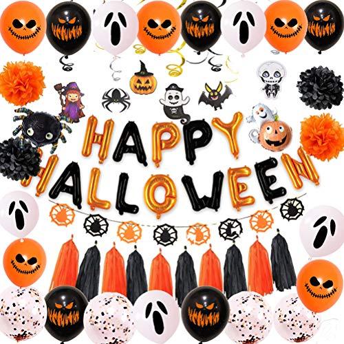 BSTQC Pancarta de Halloween con globos de aluminio de aluminio, guirnalda de Halloween para decoración del hogar
