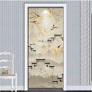 Autocollant de porte peint à la main fleur oiseaux papier peint étanche auto-adhésif salon chambre porte décor 3D amovible...