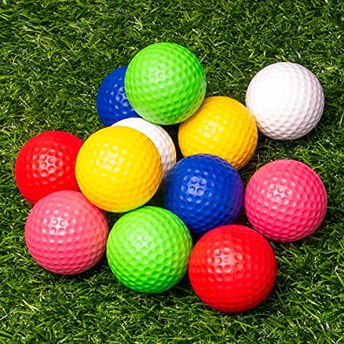 THIODOON Practice Golf Balls Foam Golf Balls for Men Women 12Pcs 40mm Realistic Feel Colored Golf Balls Dent Resistant Long Lasting Limited Flight Soft Golf Balls for Indoor Basement Backyard Training