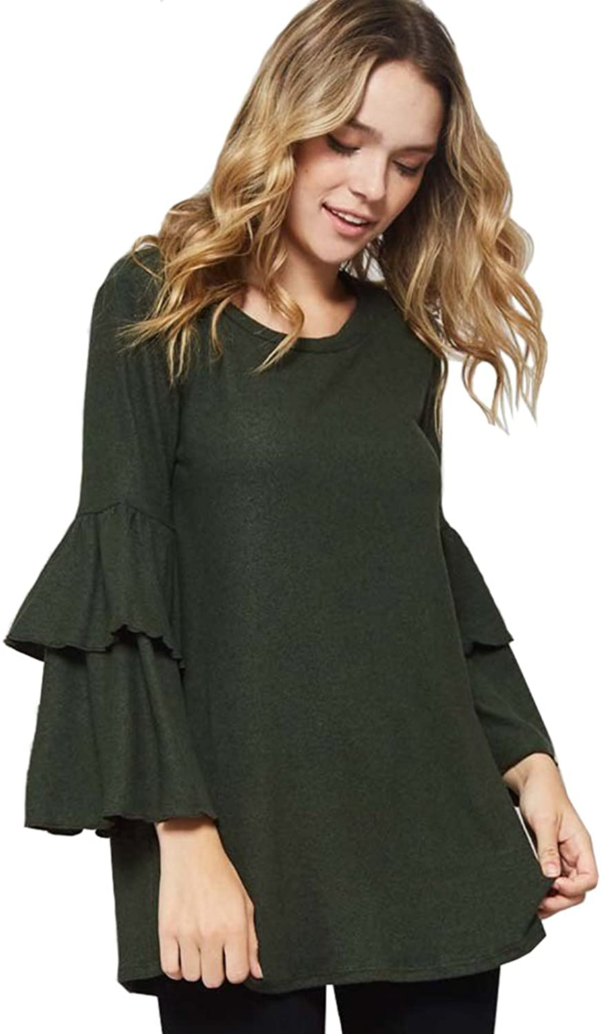 12 Ami Isabella Brushed Knit Ruffle Sleeve Tunic Top  Made in USA