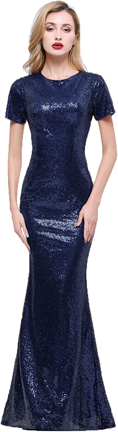 Honey Qiao Sparkly Navy Bridesmaid Dresses Long Full Back Evening Party Dress