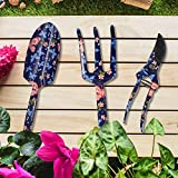 hombrima Gartenwerkzeug-Set, 3-teilig, Pflanzengärtner-Handwerkzeuge mit Blumendruck – Kelle, Kultivator, Gartenschere