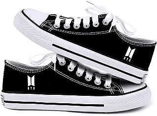 Teblacker 1 Pair BTS Sneakers, Kpop Bangtan Boys Rap Monster, JIN, SUGA, J-Hope, Jimin, V, JUNG KOOK Canvas Casual Shoes for Kids, Teens, Women, Men and Lovers