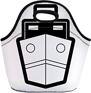 Semtomn Lunch Bags Clip Blue Boat Monochromatic Ship Gray Cargo Commerce Container Neoprene Lunch Bag Lunchbox Tote Bag Portable Picnic Bag Cooler Bag