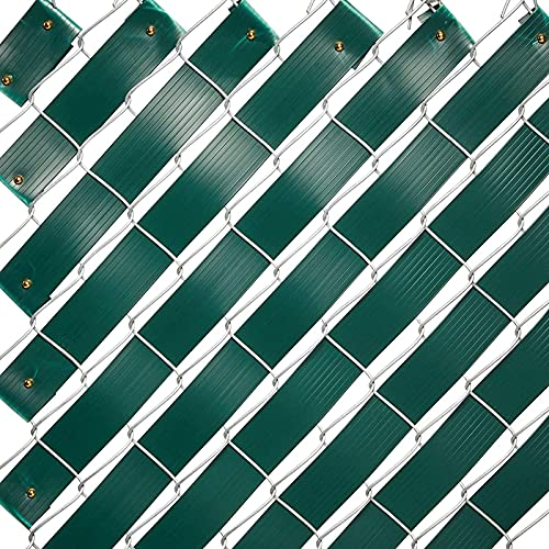 Juvale Chain Link Fence Slats, Privacy Tape with Brass Fasteners (Green, 1.8 in x 250 Ft)