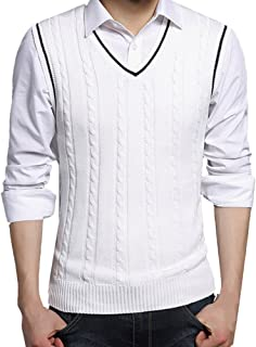 Zhhlinyuan Mens Men's Britsh Style Soft Knitted Jumper Vest Waistcoat Gilet Tops