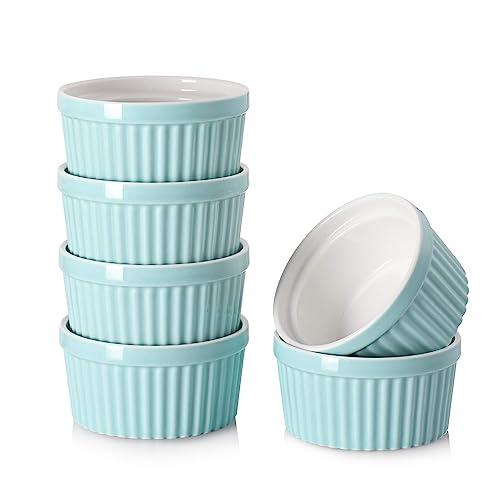 DOWAN 4 oz Ramekins - Ramekins for Creme Brulee Porcelain Ramekins Oven Safe, Classic Style Ramekins for Baking Souffle Ramekins Bowls, Set of 6, Blue