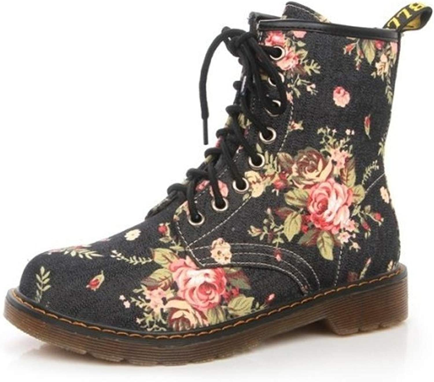 Aiweijia Flowers Retro Women's shoes Trend Martin boots head High Top shoes