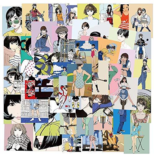 HUIJIA Clásico Retro Chica Joven ilustración Pegatina PVC Dibujos Animados Anime calcomanía Pegatina DIY Guitarra Maleta Nevera Botella de Agua 50 Uds