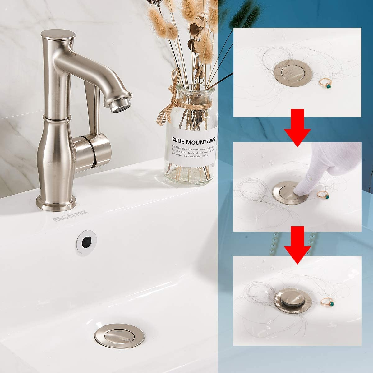 Buy Regalmix Vessel Sink Drain Bathroom Faucet Vessel Sink Pop Up Drain Stopper Built In Anti Clogging Strainer Brushed Nickel With Overflow Fits Standard American Drain Hole 1 1 2 To 1 3 4 R086j Bn Online In Indonesia B07nwwnqf3