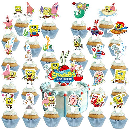 25Pcs Naiart Sponge_bob Cake Toppers Sponge_bob Happy Birthday Party Supplies Cupcake Decorations for Girls