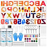 Sfit - Moldes de resina de silicona con letra y letra de resina, molde de moldeo de joyas con purpurina, decoración colgante llavero, artesanía, bricolaje (ettro 2)