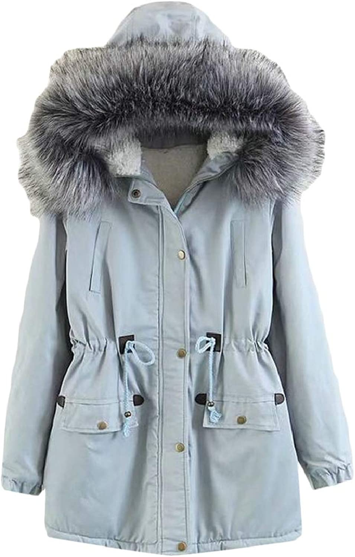 LKCENCA Womens Thicken Coat Fur Lined Hooded Jacket Slim Winter Long Parka