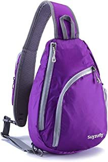 Suyzufly Small Sling Backpack for Women Men Crossbody Shoulder Bags Water Resistant Travel Hiking Casual Daypack Purple