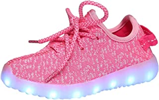 A5uyzbayu 2017 New Flying Woven Coconut Shoes Flash USB Rechargeable Colorful Shoes